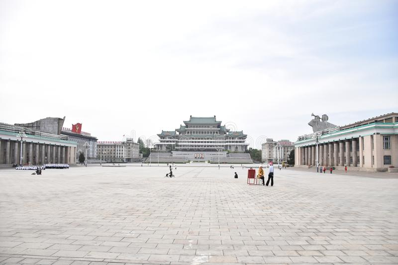 Pyongyang, Grand People Study House. A photograph showing the beautiful architecture of the Grand People Study House on Kim Il Sung square in the Asian city of royalty free stock photography