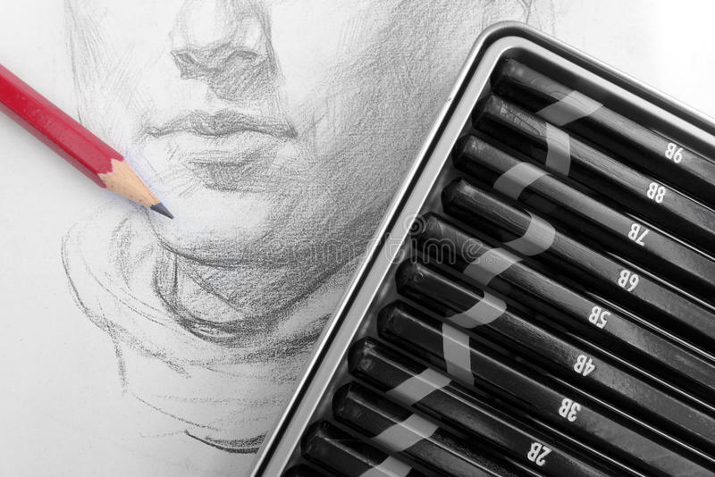 Learning pencil sketching royalty free stock photo