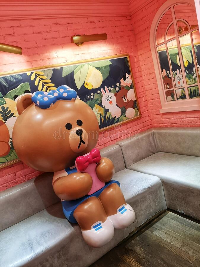 Line friends Pop Culture cafe in Shanghai city, China royalty free stock photos