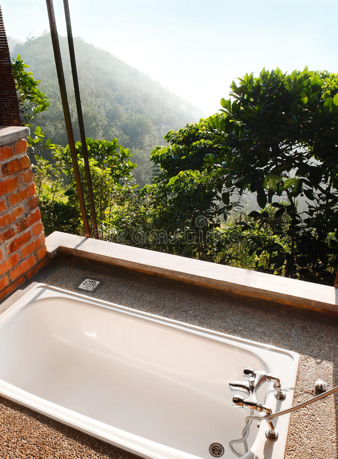 Download Outdoor Bath Room With View, Tropical Hill Resort Stock Image    Image Of Outdoor