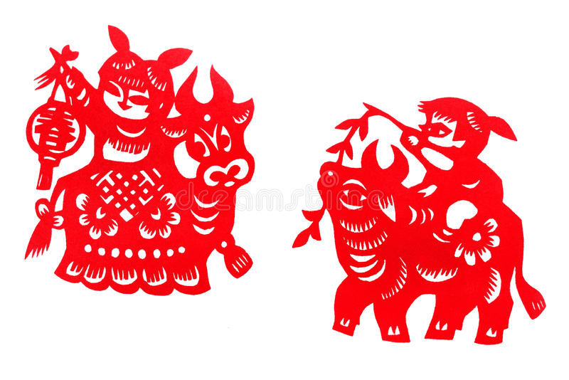 Antique china festival paper cuts. A photograph showing two festive Lunar New Year deco papercuttings, a traditional ethnic form of art and craft in China royalty free stock images