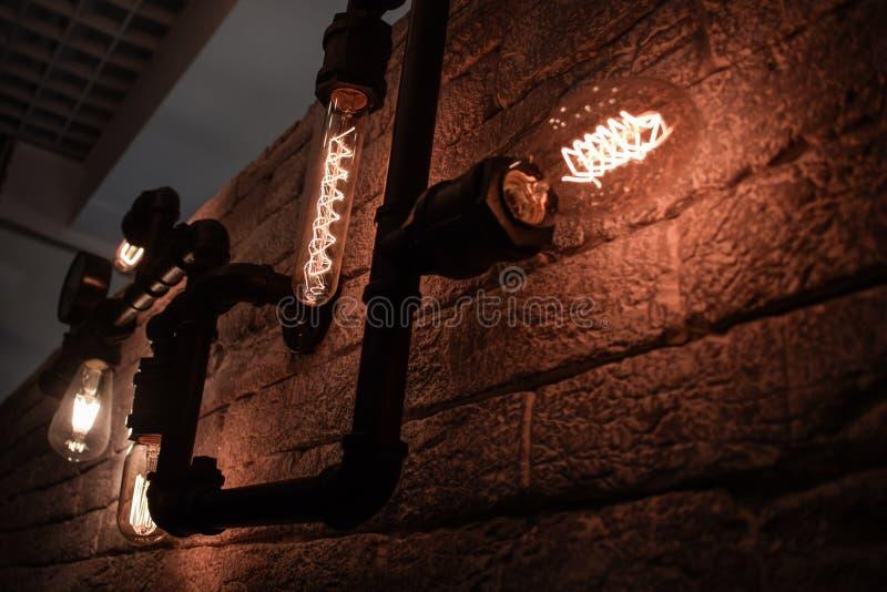 Lanterns Lamps Warm Light Unusual Shape Interior Modern royalty free stock photo
