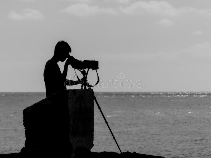 Photograph, Sky, Sea, Black And White royalty free stock photography