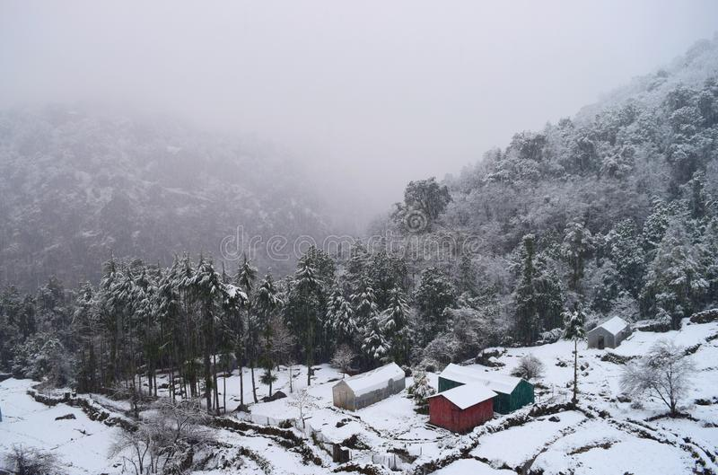 Winter Landscape - Snow over Trees, Huts, Valley, Ground, and Mountains - Himalayan Village Uttarakhand, India stock photo