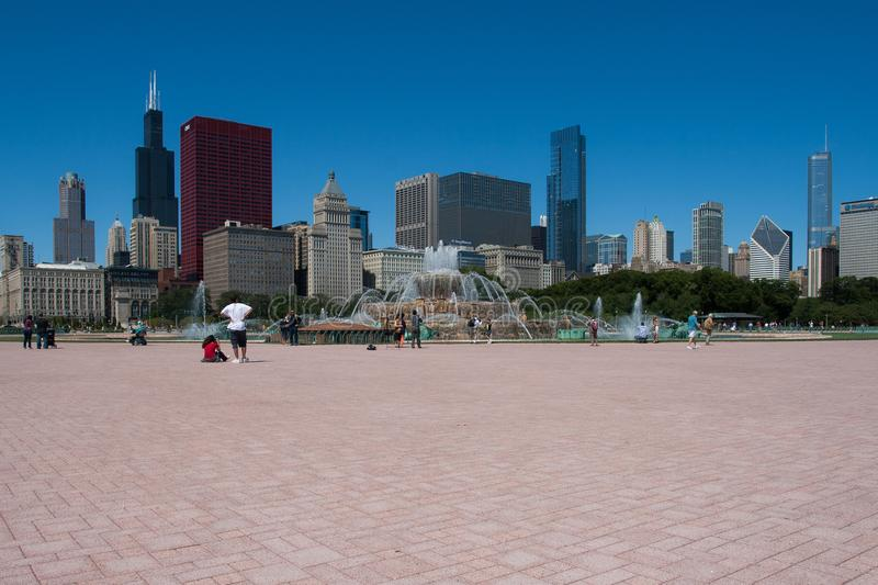 Chicago cityscape on a bright sunny day royalty free stock photos