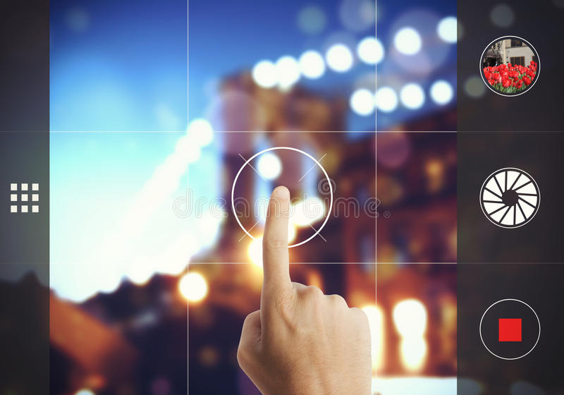 Photograph with touch screen stock photo