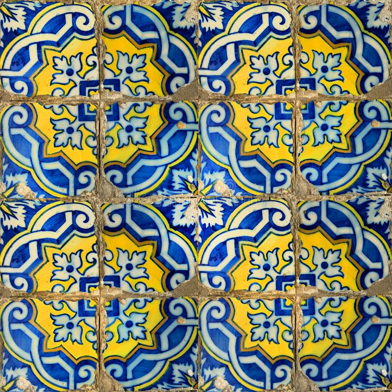 Collection of blue patterns tiles. Photograph of traditional portuguese tiles in blue and yellow royalty free stock image