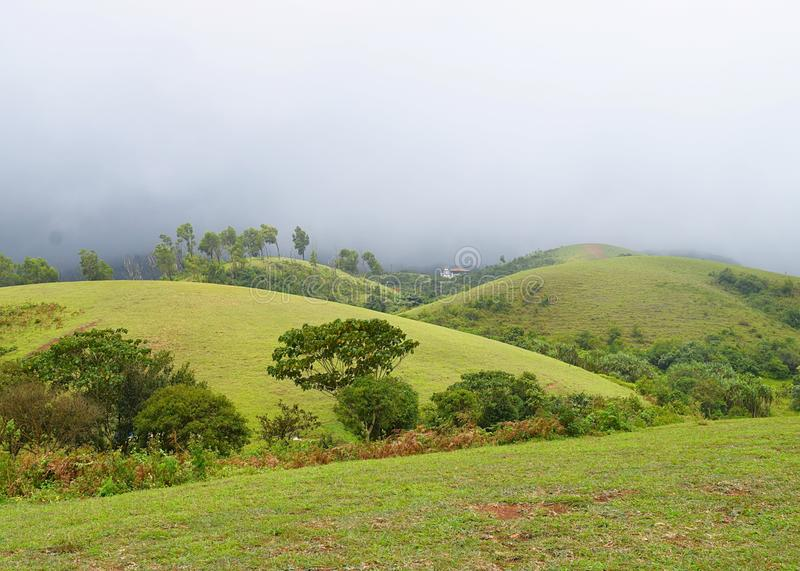 Vagamon Hills and Meadows - Misty Hills and Cloudy Sky, Idukki, Kerala, India royalty free stock images
