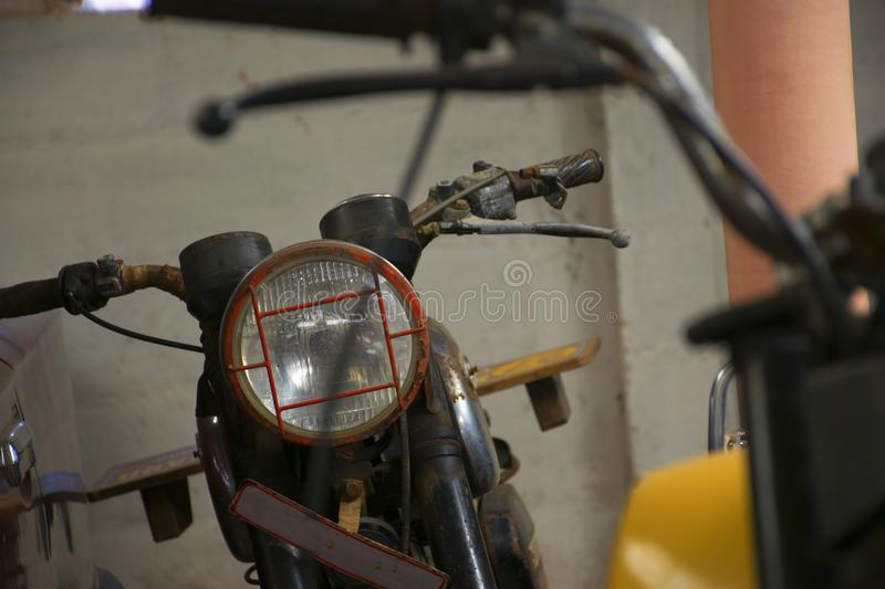 A Vintage Motorcycle From The Front royalty free stock image