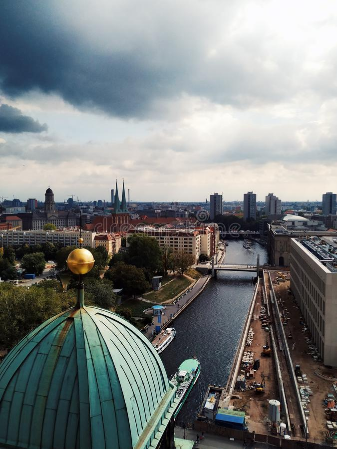 Panoramic Photography from the top of Berlin Cathedral. In the photograph you can see part of the Cathedral and the center of the old town stock photo