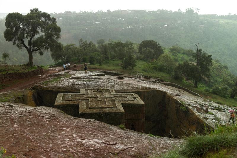 Very rainy day in Lalibela. Ethiopia. stock photo