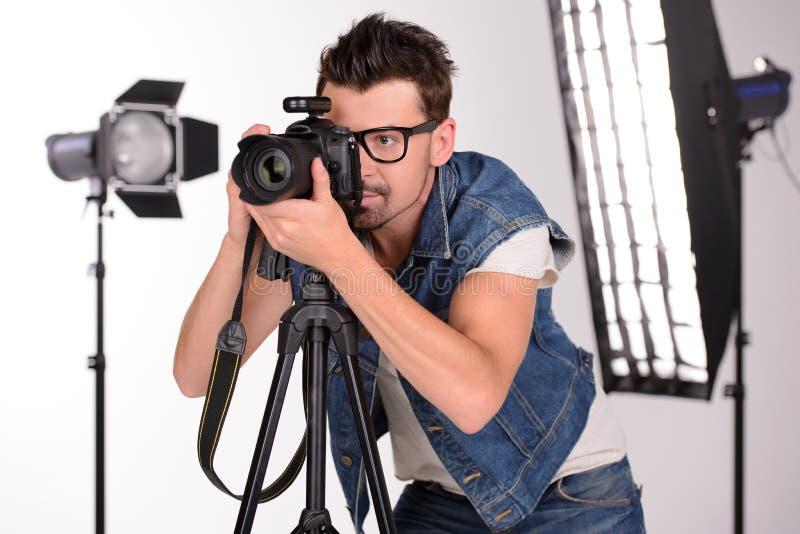 Photographe au travail image stock