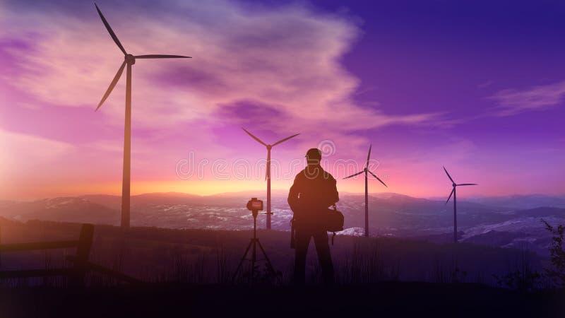 Photographe avec des photographies d'un trépied le paysage avec des turbines de vent au coucher du soleil images libres de droits