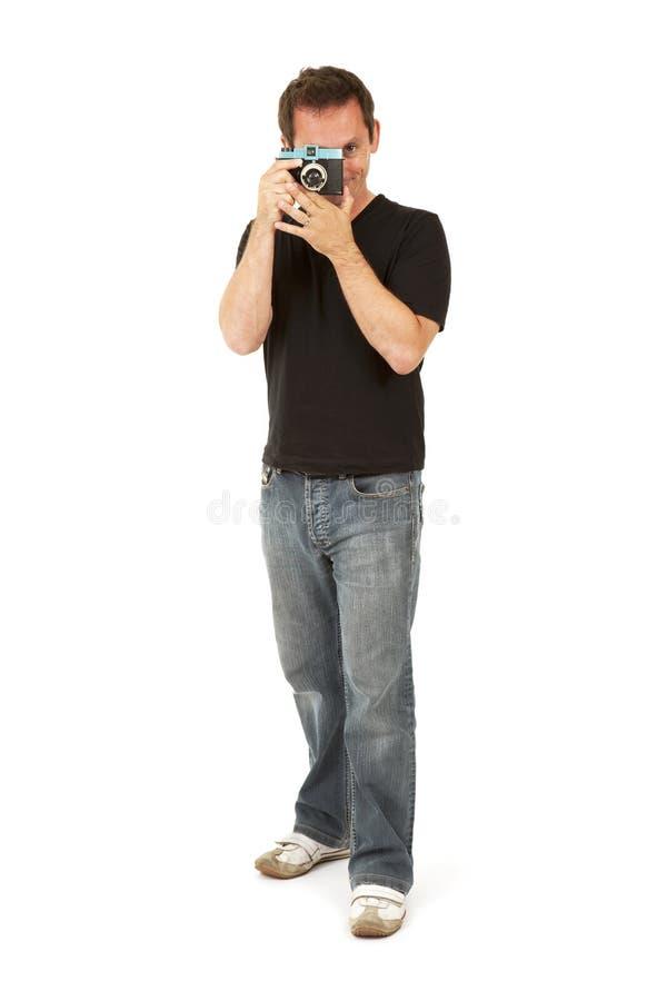 Photographe avec l'appareil-photo de jouet photo libre de droits