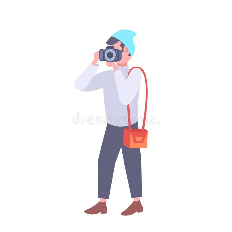 Photographe d'homme prenant la photo avec la bande dessinée masculine d'homme de caméra de journaliste de journaliste de concept  illustration stock