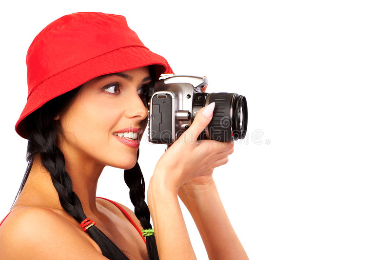 PHOTOGRAPHE DE FEMME photo stock