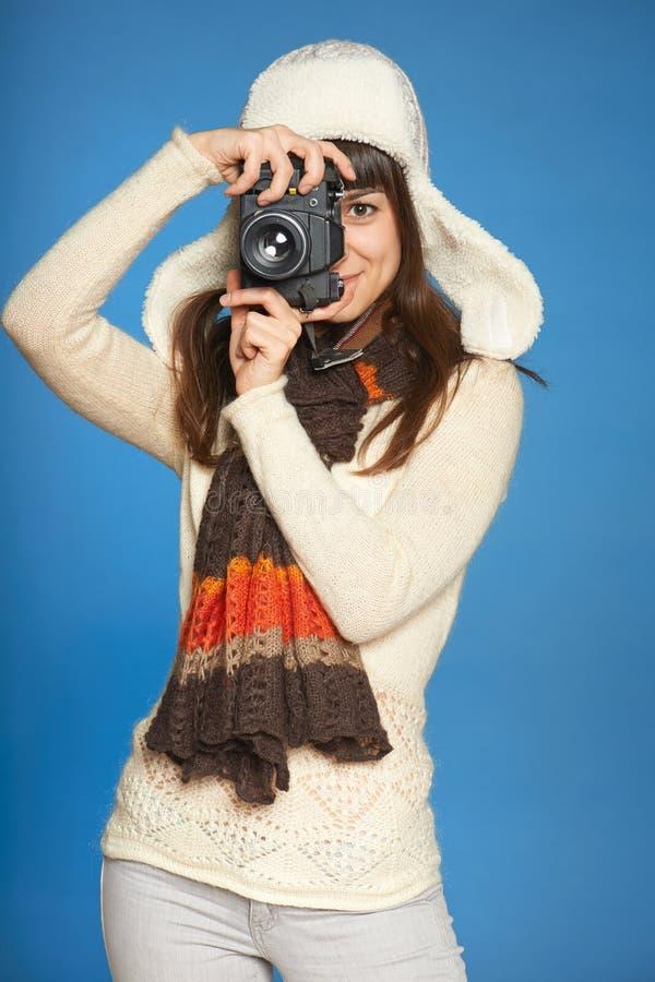 Photographe de femme faisant la photo de vous images libres de droits