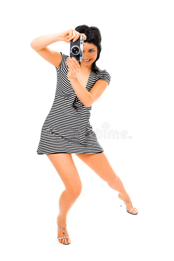 Photographe de fille de beauté dans le gilet du marin avec l'appareil-photo de photo photo stock