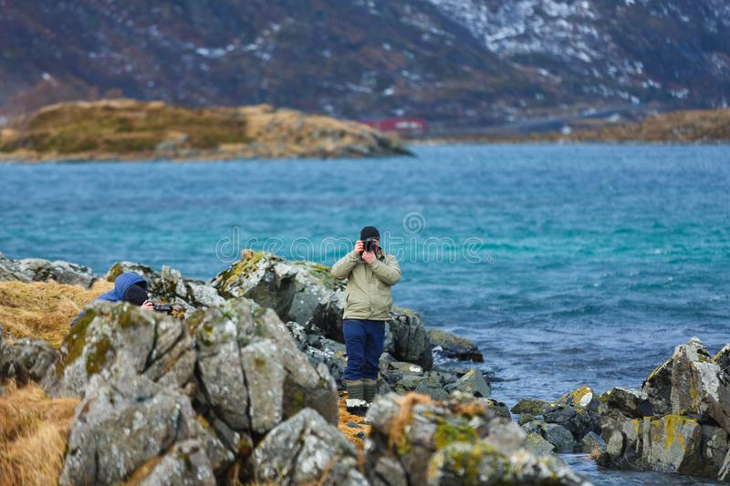 Photographe de voyage sur Lofoten photo stock