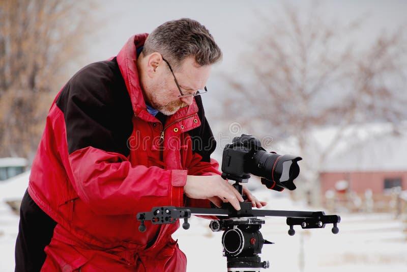 Photographe et équipement professionnels photo libre de droits