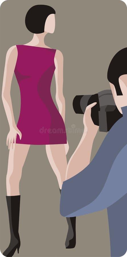 Photographe et modèle de mode illustration de vecteur