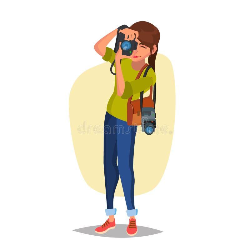 Photographe féminin Vector Photo de studio Prendre les photos professionnelles Illustration plate de bande dessinée illustration libre de droits