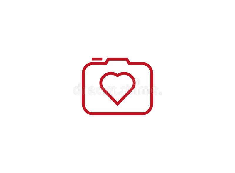 Photographe starego stylu kamera z upał miłości obiektywem dla logo projekta ilustracji ilustracja wektor