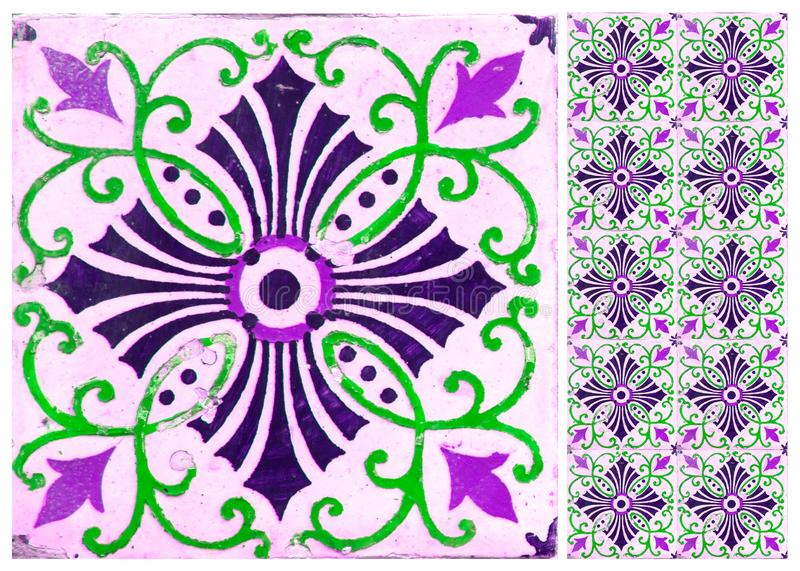Photographe of traditional portuguese tiles in purple stock image