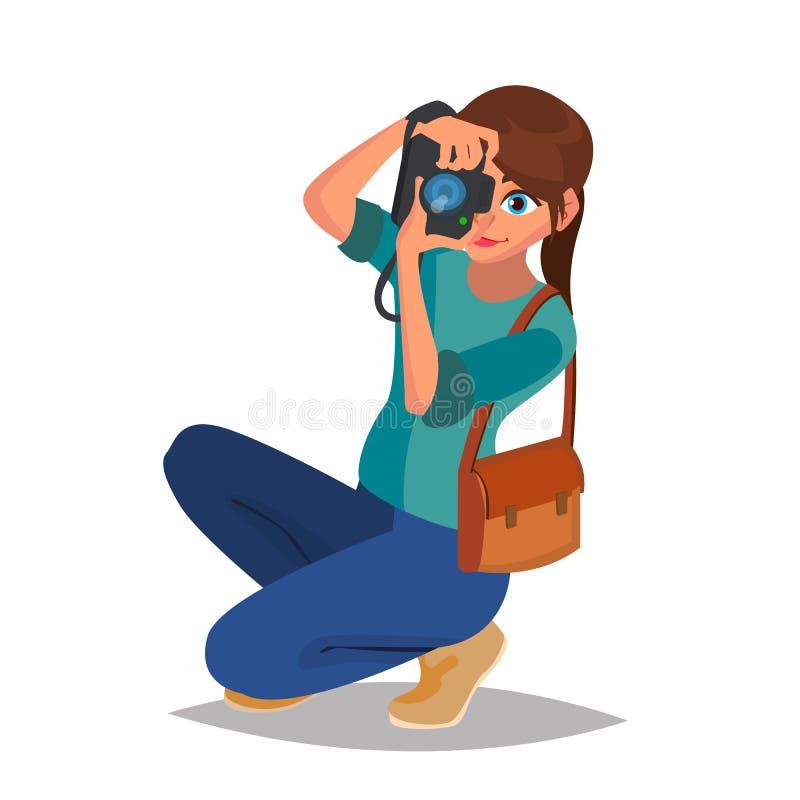 Photographe Woman Vector Matériel de photo Appareil-photo studio illustration stock