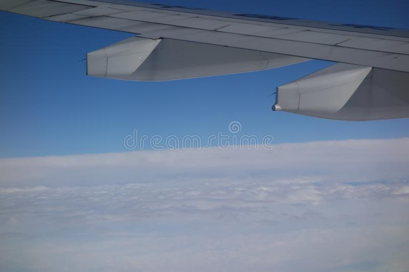 On the plane. Photographed in the air while traveling by plane royalty free stock photos