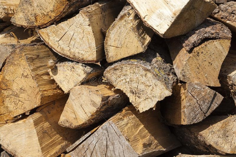Trunk of a sawn wood. Photographed close-up of a yellow trunk of a sawn wood chopped into firewood. wood is stacked parallel to the previous rows. photo of royalty free stock images