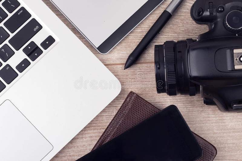 Photographer's del lugar de trabajo gráfico de los designer's imagen de archivo