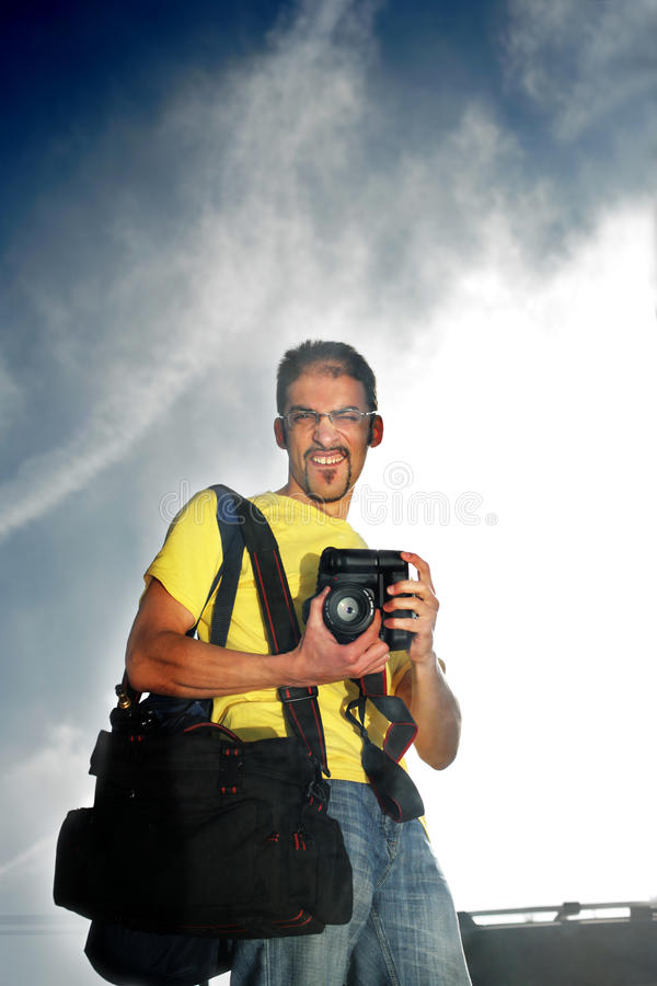 Download Photographer stock photo. Image of goatee, black, glasses - 15609094