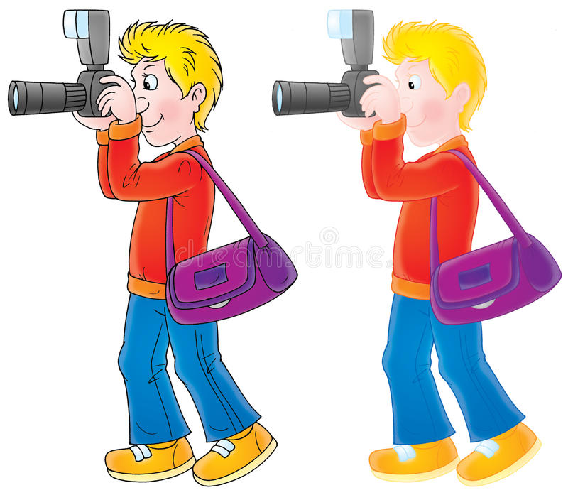 Photographer. Isolated clipart illustration of a shooting photographer (2 versions of the drawing with black and color contours stock illustration