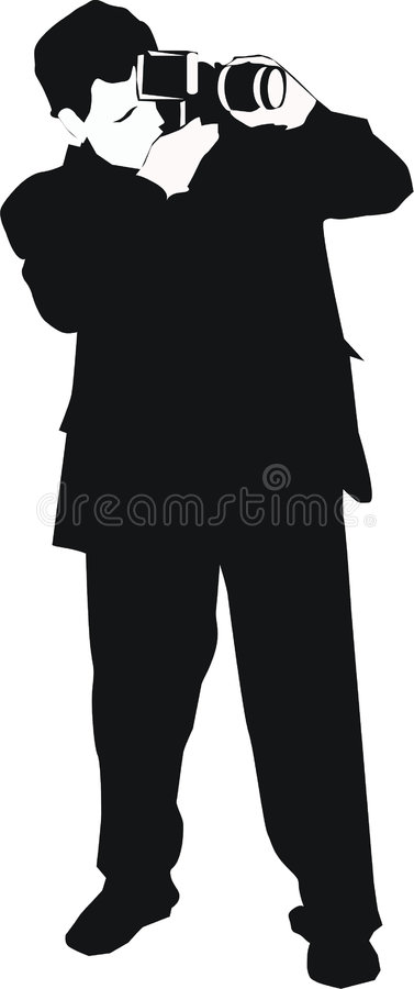 Photographer. Illustration with photographer silhouette isolated on white background vector illustration