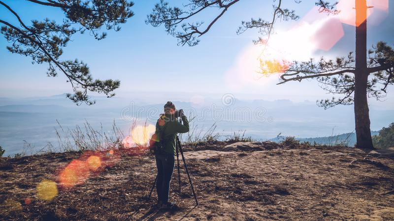 Photographer Asian women  asians travel relax in the holiday. Photograph mountain landscapes atmosphere in the morning. In the. Photographer Asian woman  asians stock photo