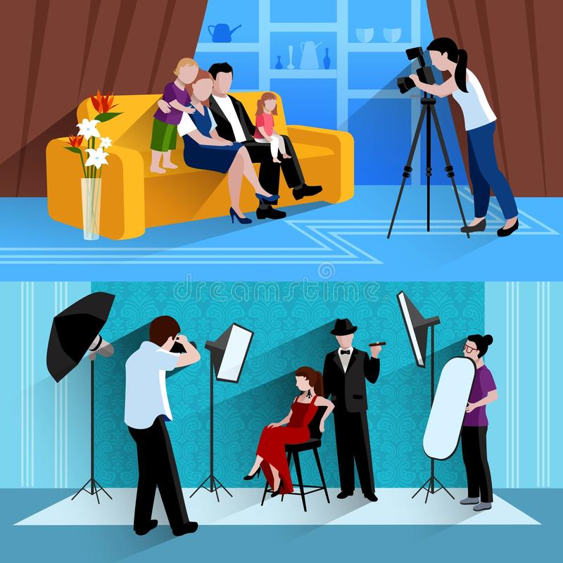 Photographer Banners Set stock illustration
