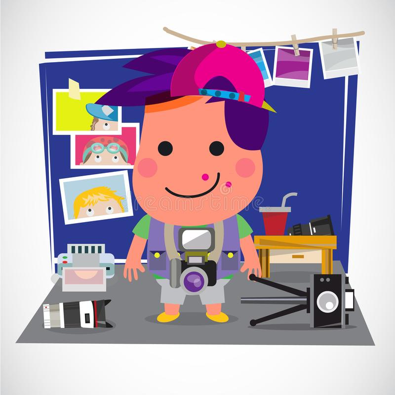 Photographer boy concept. Boy with various of camera and equipment in his bed room. Favorite and activity concept - vector. Photographer boy concept. Boy with vector illustration
