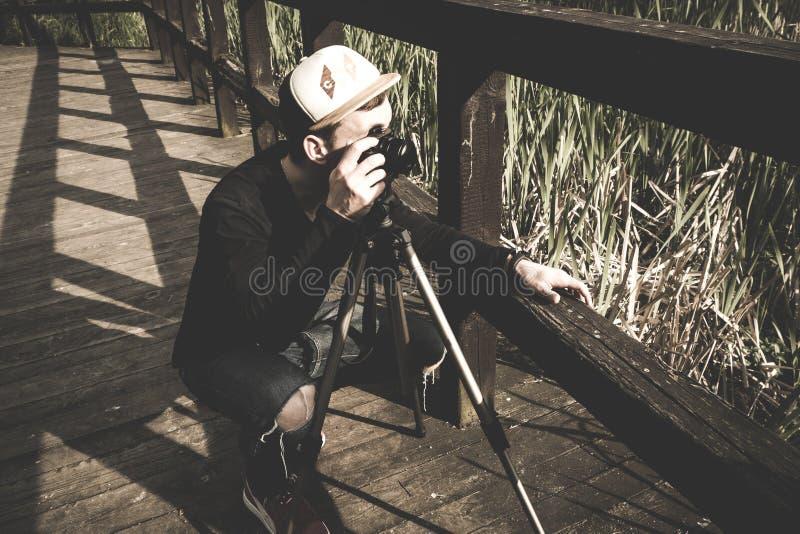Photographer On Bridge Free Public Domain Cc0 Image