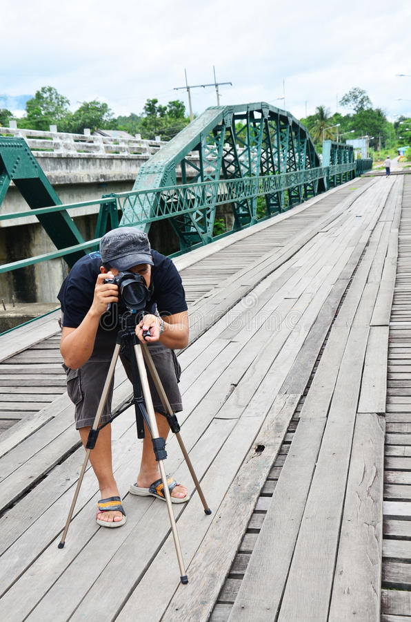 Download Photographer On Bridge Over Pai River At Pai At Mae Hong Son Thailand Stock Image - Image: 38065881