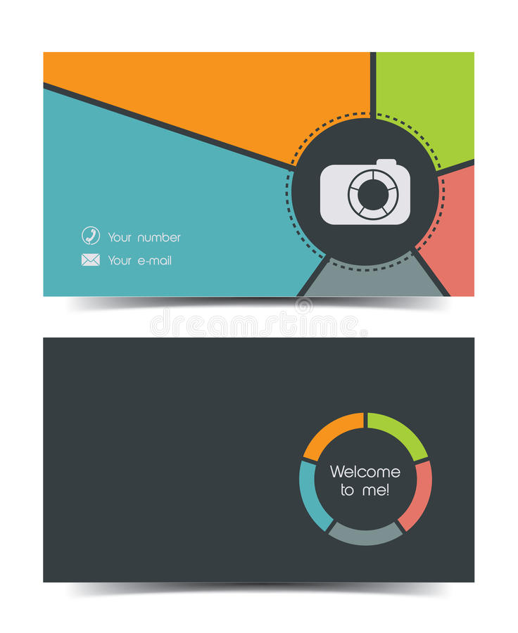 Photographer Business Card In A Flat Style. Stock Vector ...