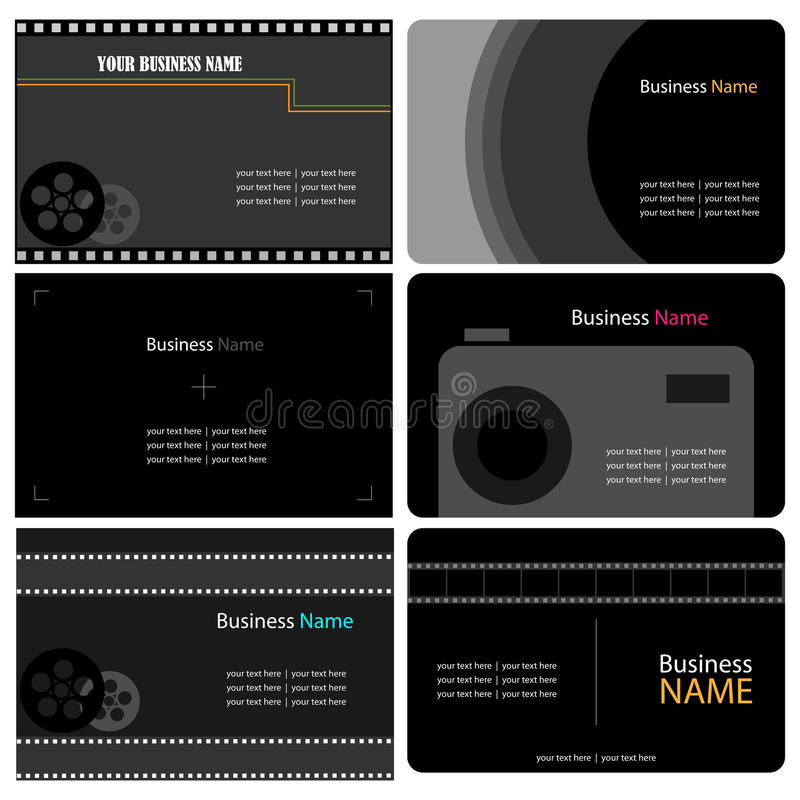 Photographer business cards. Set of six business cards isolated on white background, useful for photographers.EPS file available stock illustration