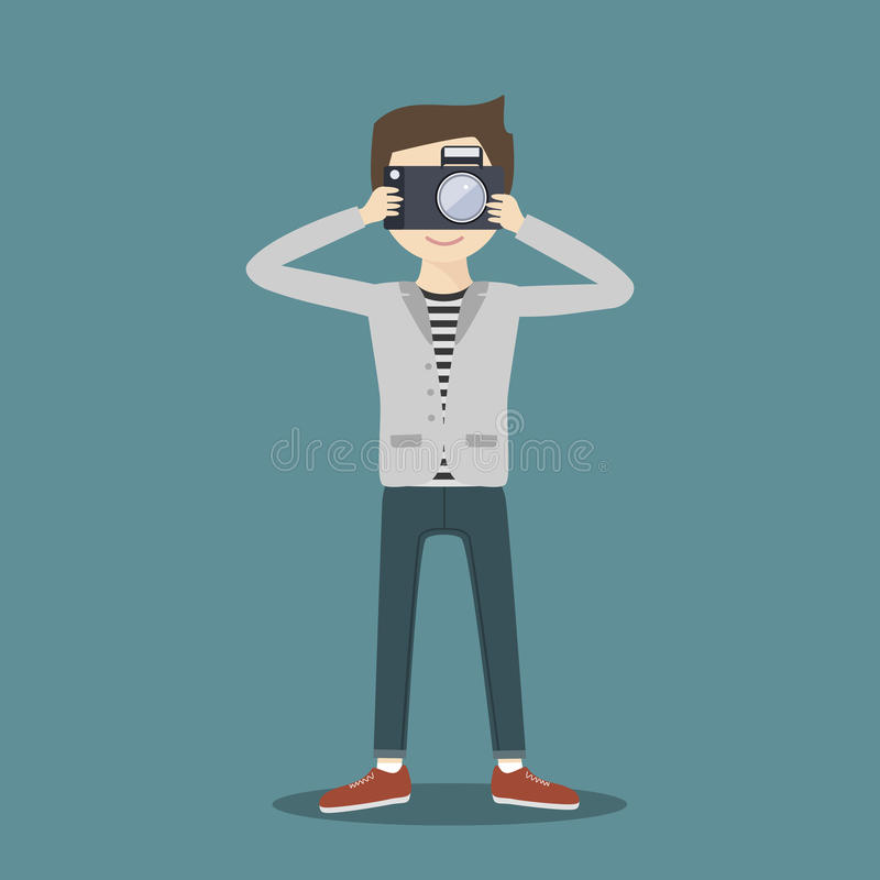 Photographer with Camera. royalty free illustration