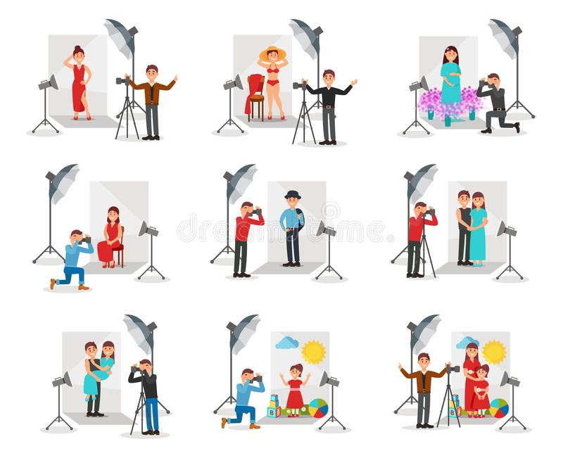 Photographer with camera photographing people set, photo session in studio vector Illustrations. Isolated on a white background vector illustration