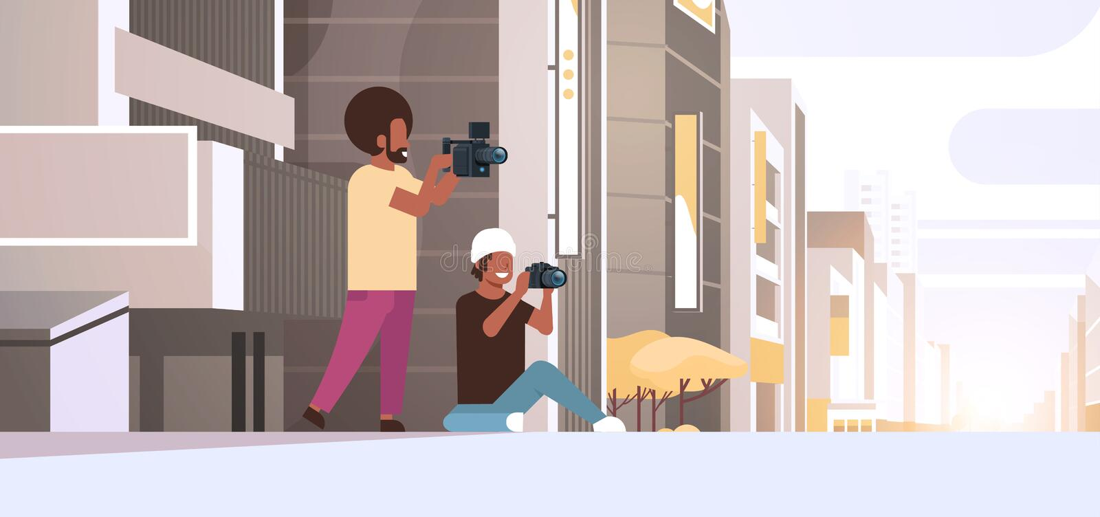 Photographer and cameraman using cameras shooting video taking pictures working together over modern city buildings. Exterior cityscape background horizontal stock illustration