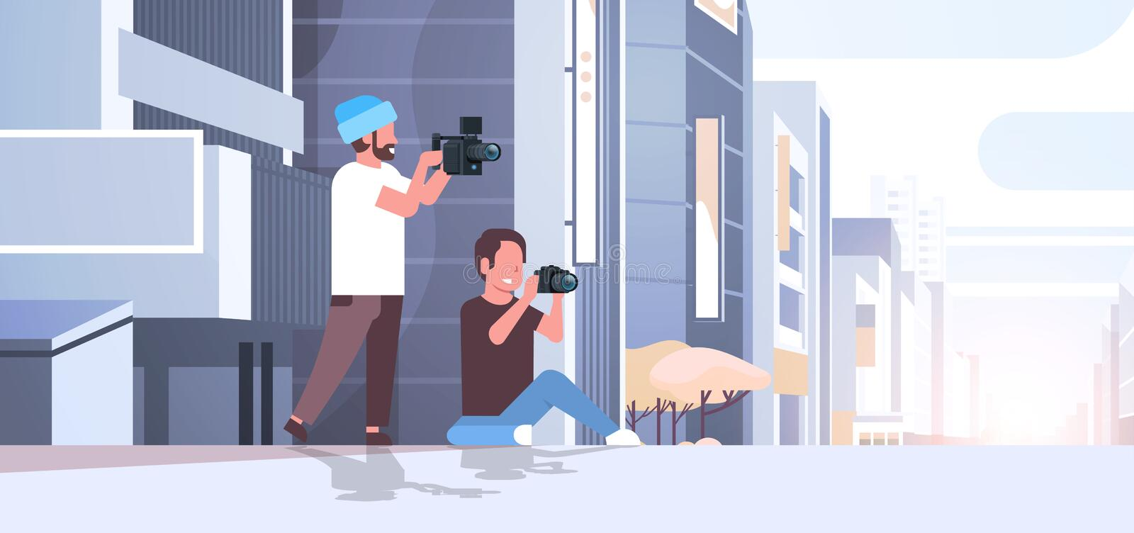Photographer and cameraman using cameras shooting video taking pictures working together over modern city buildings. Exterior cityscape background horizontal vector illustration