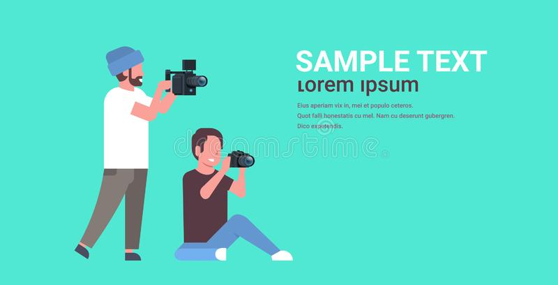 Photographer and cameraman using cameras shooting video taking pictures working together teamwork during studio session. Horizontal full length flat copy space vector illustration
