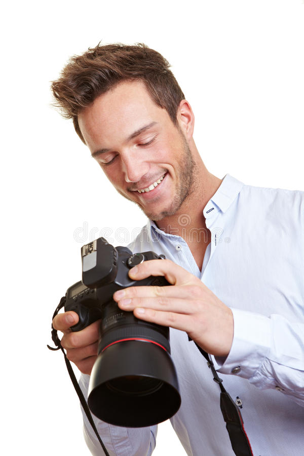 Photographer checking images on royalty free stock photos