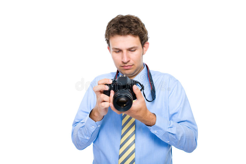 Download Photographer Checks Photos On His Dslr Camera Stock Image - Image: 14828729