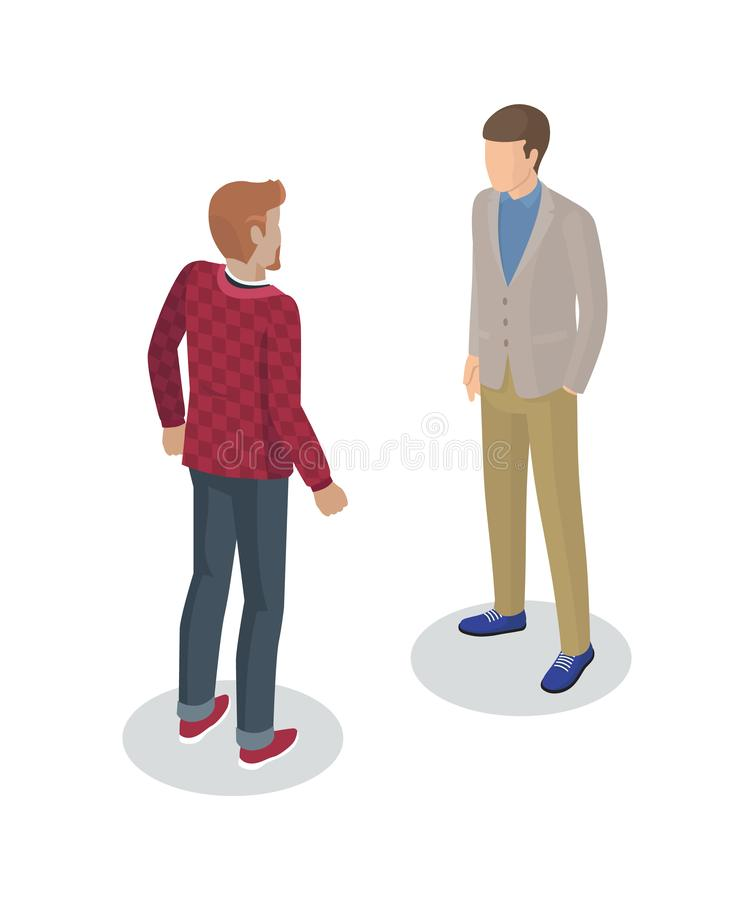 Photographer and Client Set Vector Illustration. Photographer and client meeting 3d isometric icons of men. People person working as camerist professional stock illustration